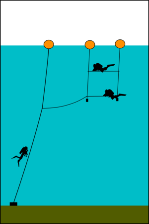 Dive planning - A shotline with decompression trapeze provides a relatively safe and convenient place for in-water decompression.