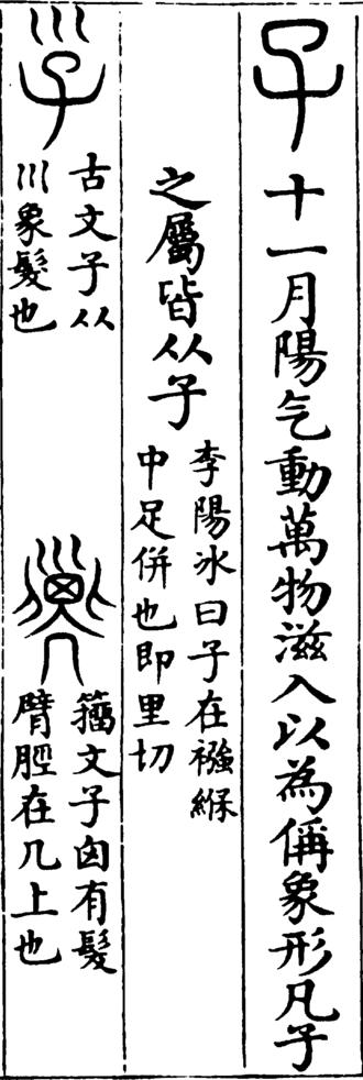 Shuowen Jiezi - Image: Shuowen 子