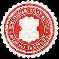 Siegelmarke Gemeinde-Amt Stadt Weitra polit. Bezirk Zwettl Nieder-Österreich W0321408.jpg