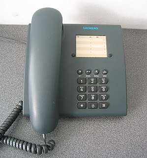 Landline Phone that uses a metal wire or fibre optic telephone line for transmission
