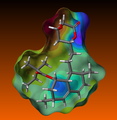 Simvastatin with electrostatic potential mapped to molecular surface.png
