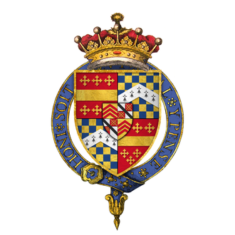 Richard Beauchamp, 13th Earl of Warwick - Arms of Sir Richard Beauchamp, 13th Earl of Warwick, KG, as depicted on his stall plate at St. George's Chapel