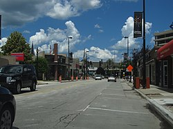 Downtown Skokie seen on a partly cloudy day with some construction