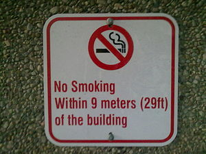 Health effects of tobacco - Posted sign to avoid passive smoking in York University, Toronto, Ontario, Canada.