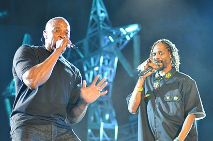 Dr. Dre performing with Snoop Dogg, 2012 Snoop Dogg and Dr. Dre.jpg