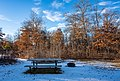 Snowy Campsite at St. Croix State Park, Minnesota - Picnic Table and Fire Ring (45451183195).jpg