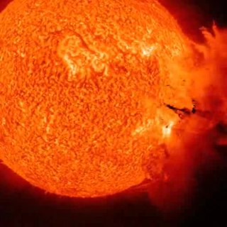 Solar flare a sudden flash of increased brightness on the Sun, usually observed near its surface and in close proximity to a sunspot group.