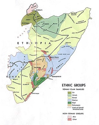 Hawiye - Traditional territory inhabited by the various Somali clans shown.