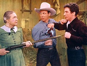 Sarah Padden - Sarah Padden, Eddie Dean, and Lash LaRue in Song of Old Wyoming (1945).