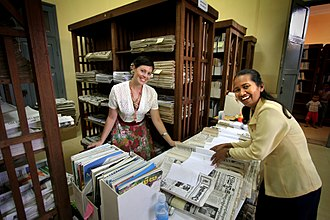 Collections management (museum) - Volunteers sort and catalog a library collection at the National Library of Cambodia. Creating documentation of collections and providing safe storage conditions are important aspects of collections management.
