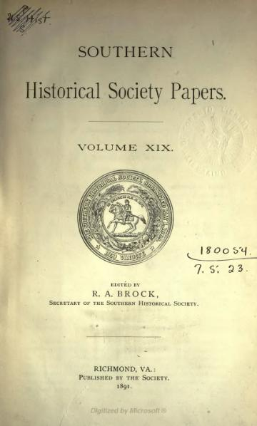 File:Southern Historical Society Papers volume 19.djvu