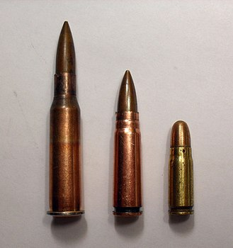 7.62×54mmR - Soviet World War II era service cartridges: (Left to right) 7.62×54mmR, 7.62×39mm, 7.62×25mm.