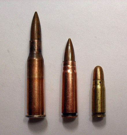 From left to right: 7.62×54mmR, 7.62×39mm and 7.62×25mm Tokarev. - 7.62×39mm