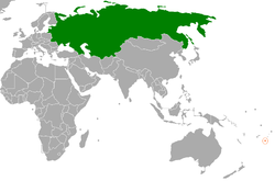 Map indicating locations of Soviet Union and Tonga