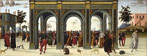 Griselda (folklore) - Griselda is sent away as her husband remarries, from a set of Sienese paintings, c. 1490