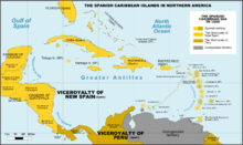Description de l'image Spanish Caribbean Islands in the American Viceroyalties 1600.png.