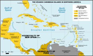 Mosquito Coast - Political map of the Caribbean around 1600.