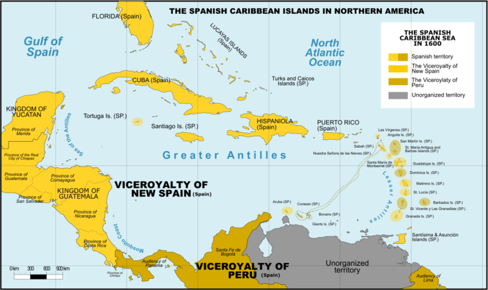 European colonies in the Caribbean in 1600 Spanish Caribbean Islands in the American Viceroyalties 1600.png