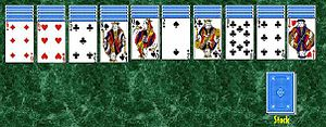 Spider (solitaire) - One initial layout in the game of Spider.