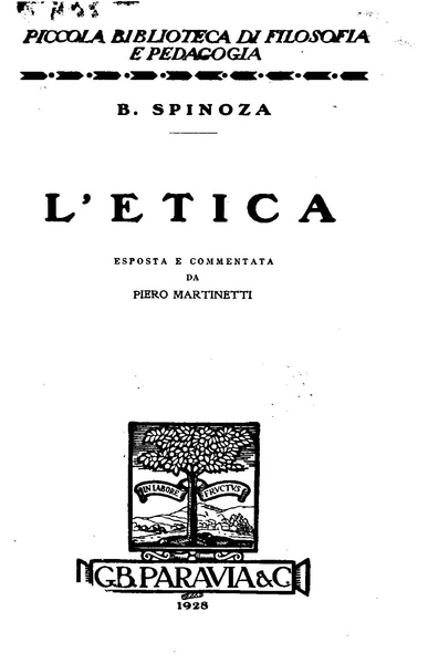 Spinoza - L'Etica - Paravia, 1928