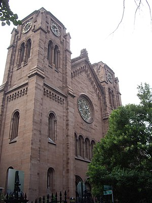 Leopold Eidlitz - St. George's Episcopal Church on Stuyvesant Square in Manhattan, New York City. Eidlitz designed the interior, and supervised its reconstruction in 1865 after a fire.