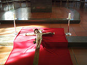 Crucifix prepared for veneration on Good Friday.