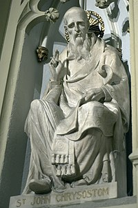 A sculpture of John Chrysostom in Saint Patrick's Cathedral, New York City.