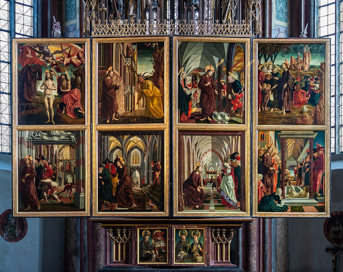 File:St. Wolfgang kath. Pfarrkirche Pacher-Altar Sonntagsseite 01.jpg
