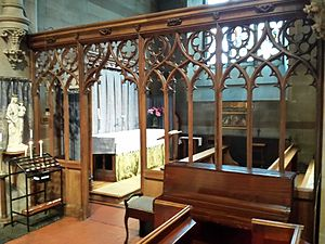 St Augustine's Church, Edgbaston - The Lady Chapel with gothic tracery oak screen