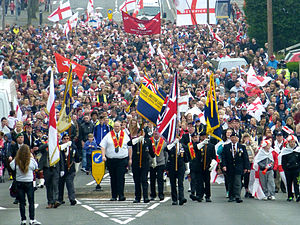 Saint George's Day in England - St George's Parade in Stone Cross, West Bromwich (April 2014)