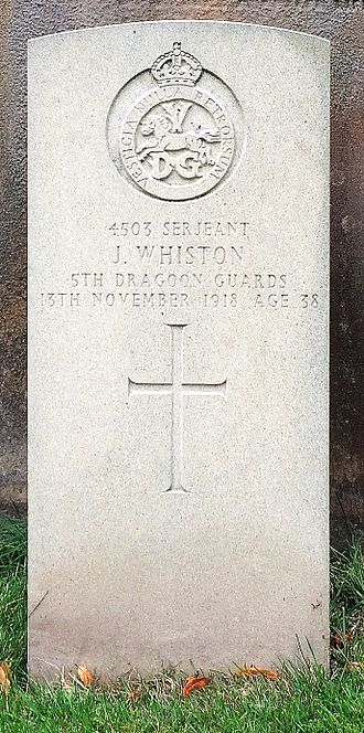 5th Dragoon Guards - Grave of J Whiston of the 5th Dragoon Guards at St Mary's Church, Eccleston