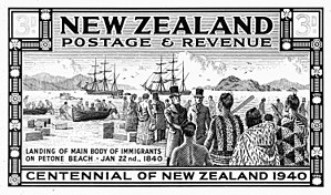 New Zealand Company ships - First settlers arriving at Petone, Wellington Harbour