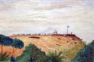 Vivi, Democratic Republic of the Congo - 1887 painting of the Station of Vivi during the Congo Free State period.