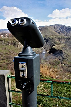 Stationary mounted binocular at the Garni temple.jpg