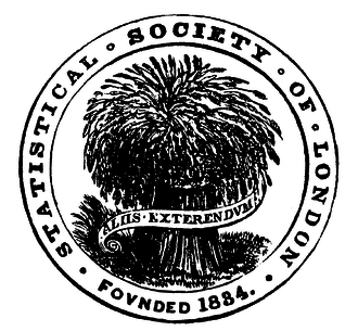 Royal Statistical Society - The early logo of the Statistical Society of London with the motto Aliis exterendum