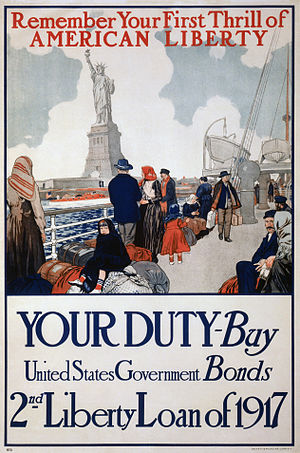 Liberty bond - A 1917 government poster using the Statue of Liberty to promote the development sale of  bonds of the 2nd Liberty Loan Act.