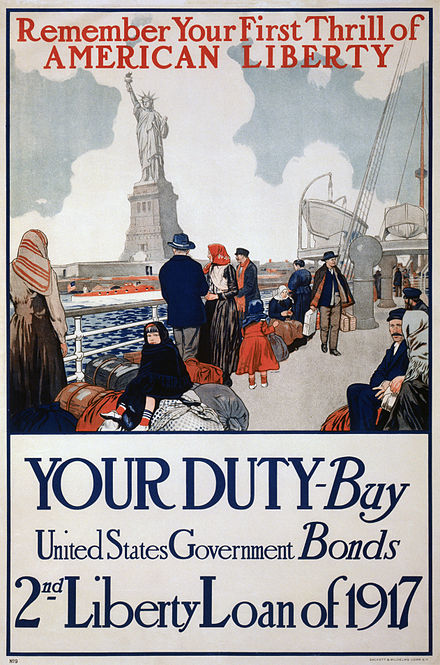 Government poster using the Statue of Liberty to promote the sale of Liberty Bonds Statue of Liberty 1917 poster.jpg