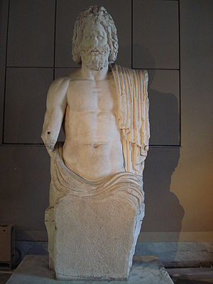 Colossal seated Zeus from Gaza, Roman period. ...