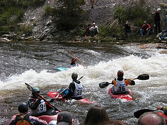 Steamboat Springs, Colorado - Kayakers at Charlie's Hole on the Yampa River