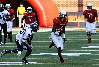 Stefon Diggs - Stefon Diggs picks up 33 yards on a reception against Old Dominion University during the Terps 47–10 win on September 7, 2013