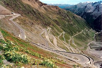 Hairpin turn - Some of the 48 hairpin turns near the top of the northern ramp of the Stelvio Pass in Italy