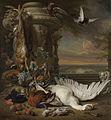 Stilleven met dood wild en vruchten naast een tuinvaas, met een aap, een hond en twee duiven; in het verschiet Rijksdorp bij Wassenaar, een buitenverblijf van jhr. Jacob Emmery baron van Rijksmuseum SK-A-462.jpeg