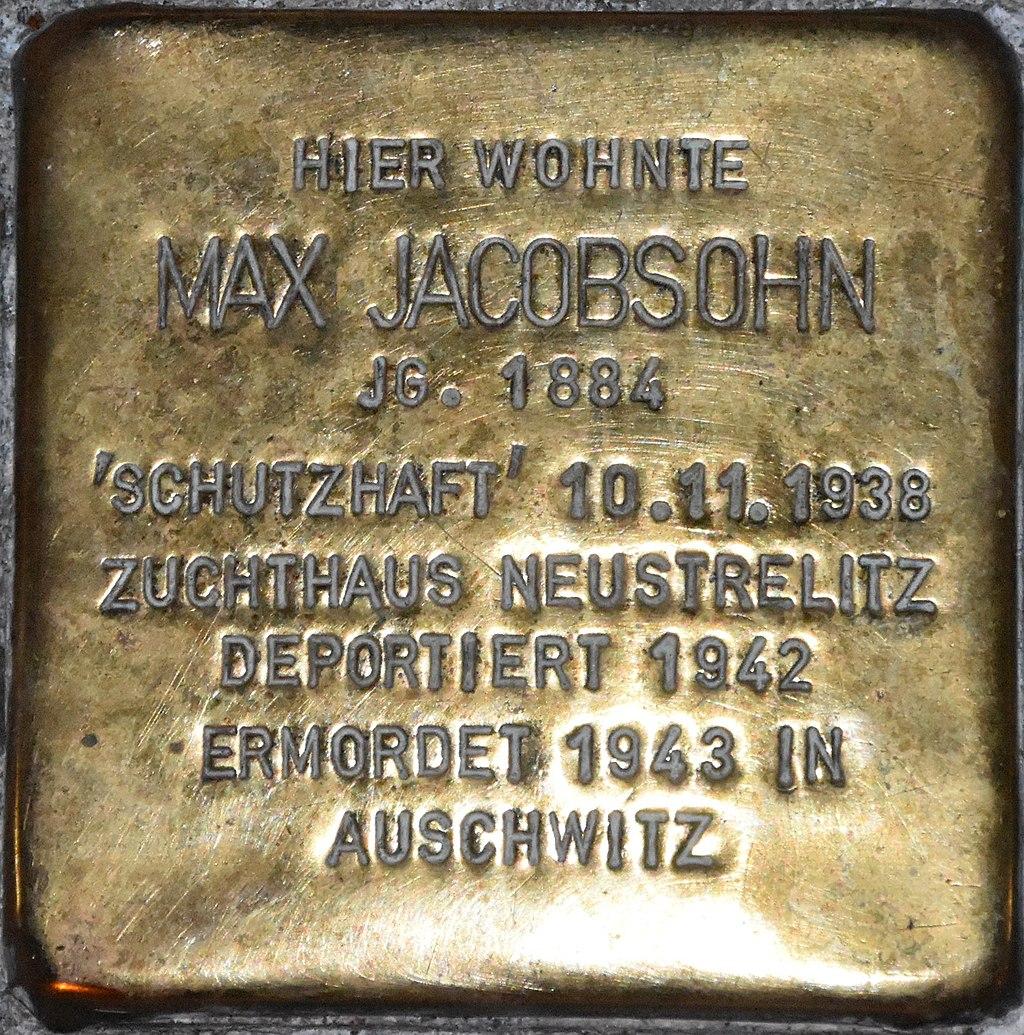 Stolperstein Güstrow Hansenstraße 1 Jacobsohn Max