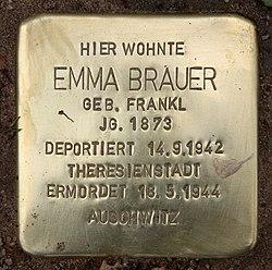 Photo of Emma Brauer brass plaque