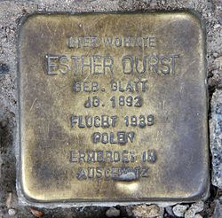 Photo of Esther Durst brass plaque