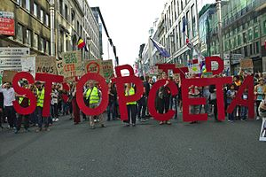 Comprehensive Economic and Trade Agreement - The Stop TTIP-CETA protest in Brussels, Belgium, 20 September 2016
