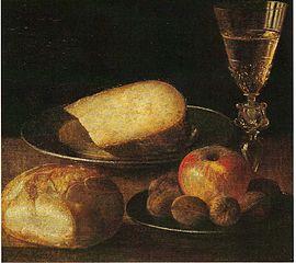 Nature morte, fruits, fromage et pain