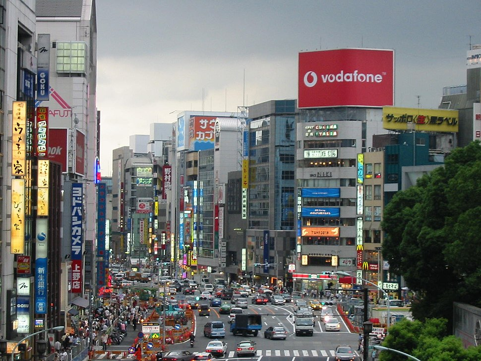 Straatbeeld Tokyo juli 2004
