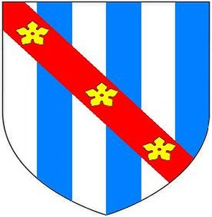 Stradling baronets - Arms of Stradling: Paly of six argent and azure, on a bend gules three cinquefoils or