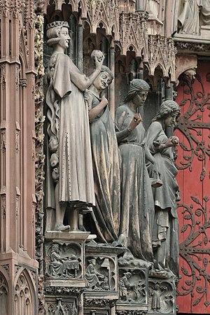 Crapaud - Image: Strasbourg, cathédrale, tentateur et vierges folles 02